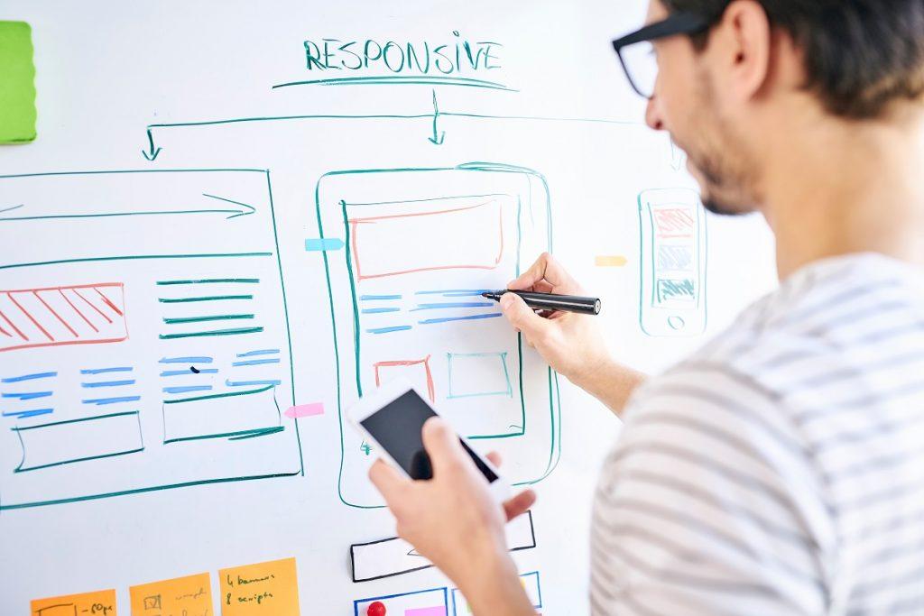 Website designer planning the positioning of CTA button