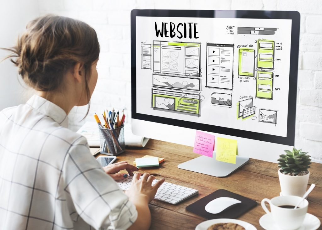 Woman designing the homepage