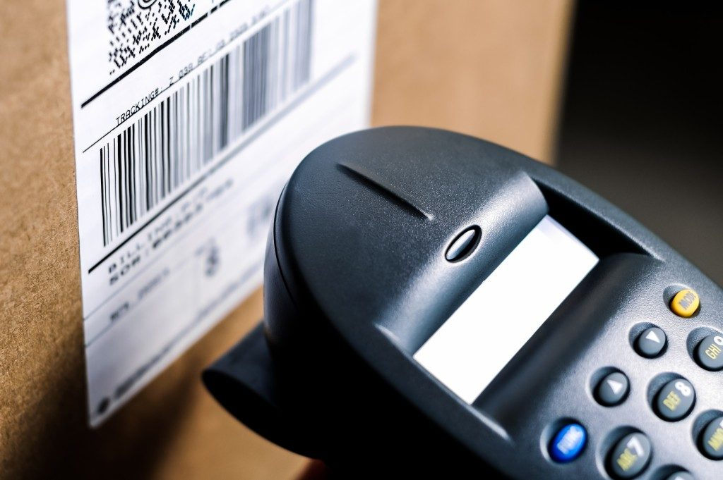 Barcode label on the product