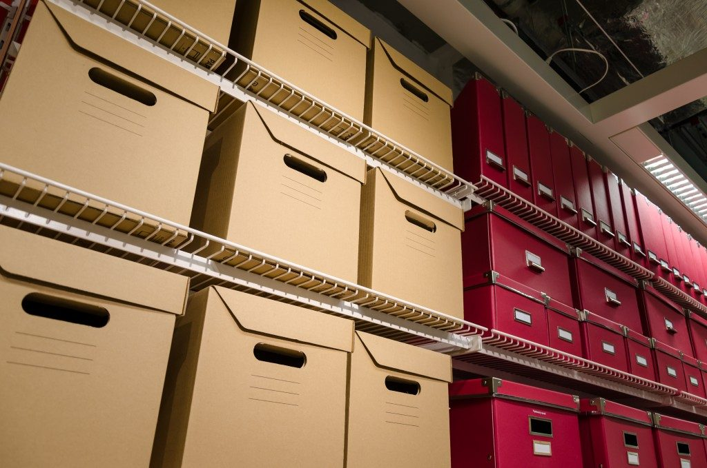 boxes in a storage room