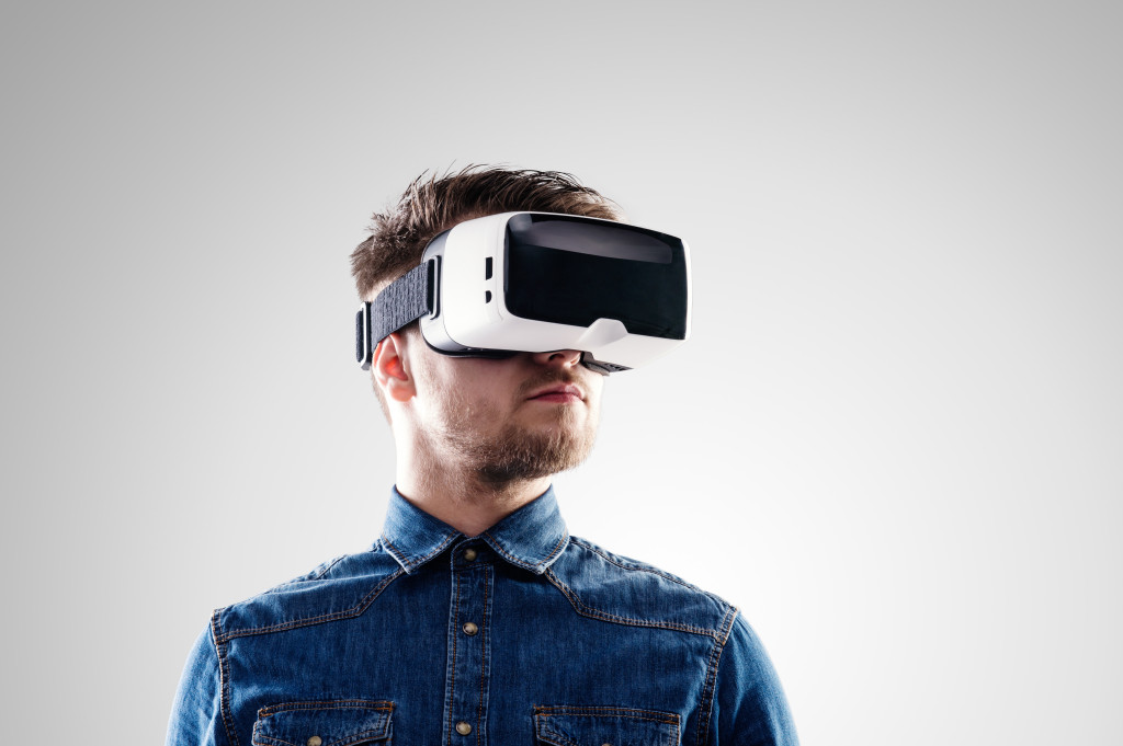 man wearing virtual reality goggles